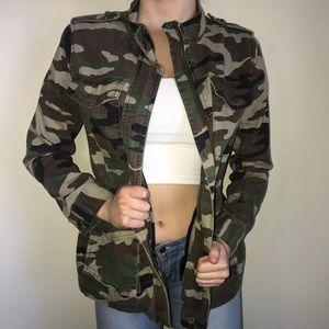 Camouflage long jean jacket